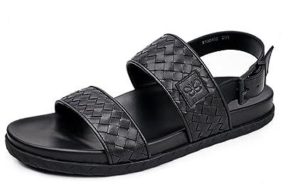 0cf4854da42ef2 HAPPYSHOP(TM Men Slip On Sandals Leather Summer Outdoor Flip Flop Sandal  Beach Slipper Casual