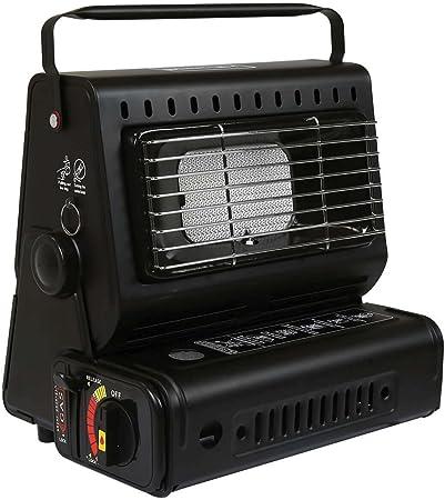 Calefactor portátil de gas para acampar o pesca al aire libre. Botellas de gas butano.
