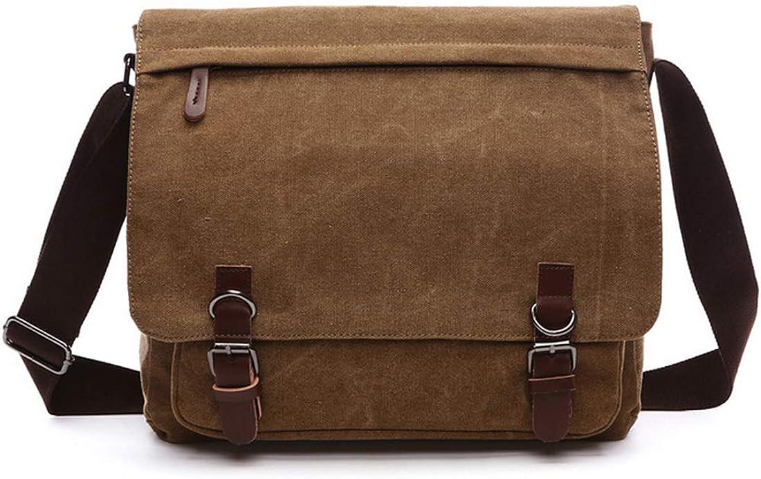 Vintage Canvas Laptop Messenger Bag Travel School Bookbag Fit For 12.5 13.3 14 inch Notebook Chromebook
