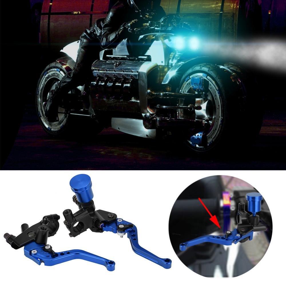 Qiilu 1 par de 22mm hidráulica CNC Bomba de Freno & Embrague Ajustable de la Motocicleta - Palanca del Cilindro de Freno(Azul): Amazon.es: Coche y moto