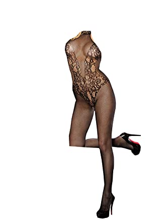ef0ec1ca01 Sexy Black Fishnet Halter Neck Lace Trim Low Cut Back Bodystocking Bodysuit  One Size UK6-12  Amazon.co.uk  Clothing