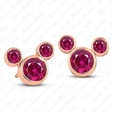 Gemstar Jewellery Brilliant Red Ruby Disney Mickey Mouse Heart Earrings 14K White & Black Gold Finish 87u7Z