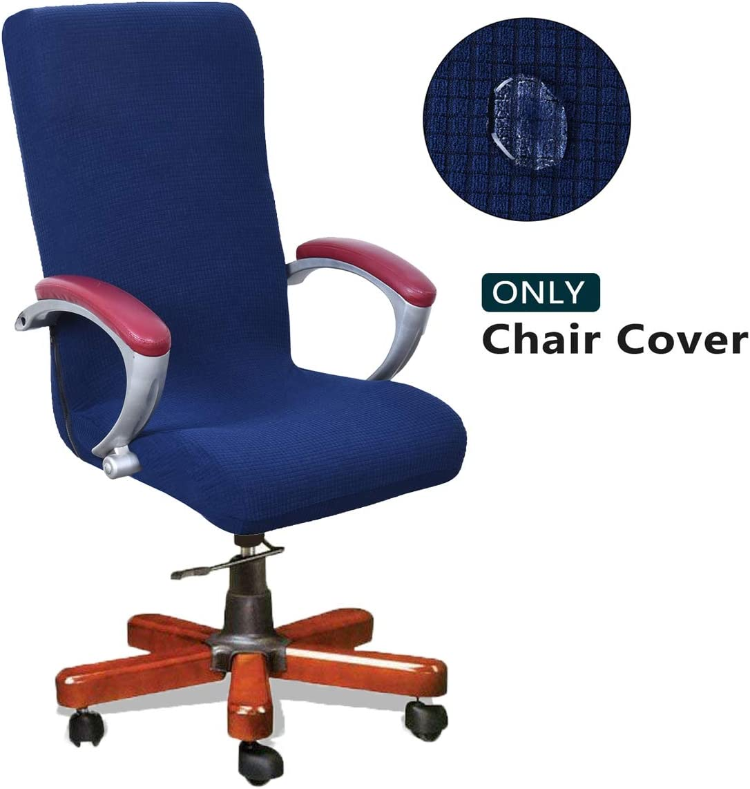 WOMACO Waterproof Office Chair Cover, Jacquard Computer Office Chair Covers Water-Repellent Universal Boss Chair Covers Modern Simplism Style High Back Chair Slipcover (Navy, Large)