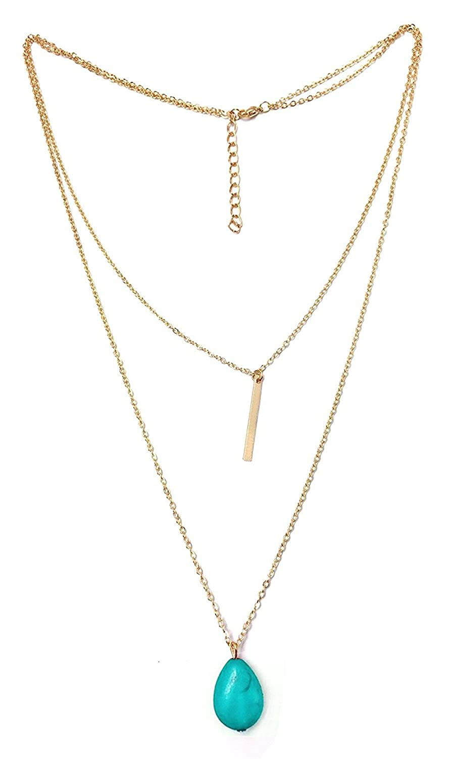 BODYA Womens Exquisite silver gold plated Double Layers Turquoise Long Pendant Necklace 30 32 cable chain JW3690
