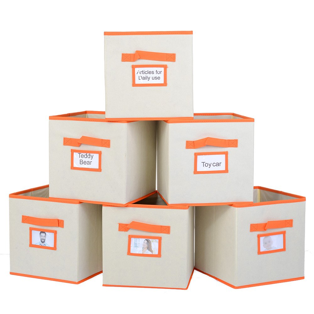 Ikebana Set Of 6 Foldable Fabric Storage Cubes, Home Decorative Containers Storage Bin With Handle And Label Holder For Closet, Shelf, Nursery, Office