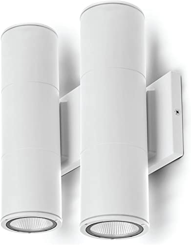 Home Zone Security Porch Sconce Light – Outdoor Modern LED Up Down Wall Mounted Lights, White 2-Pack