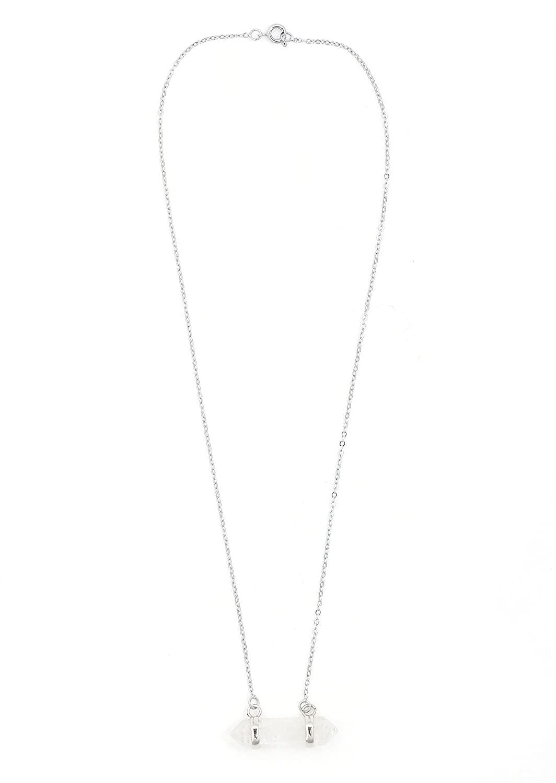 Magic Metal Polished Quartz Crystal Necklace Silver Tone Pendant NU26 Fashion Jewelry