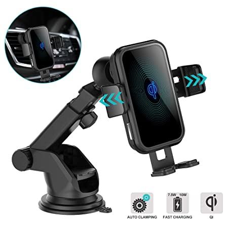 Wireless Car Charger, 10W 7.5W Qi Fast Charging Dock Station Auto Clamping Vehicle Mount Windshield Dash Air Vent Phone Holder USB C Power for iPhone 11 11Pro 11Pro Max XS X 8 8 , Samsung Note10 S10