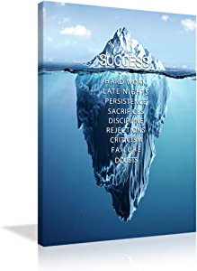 VIIVEI Inspirational Success Canvas Wall Art Motivation Entrepreneur Quotes Canvas Painting Iceberg Pictures Posters Artworks Office Living Room Decor Frame Ready to Hang