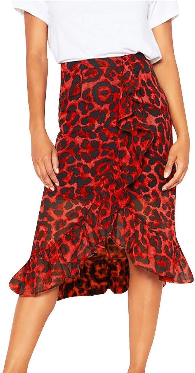 Amlaiworld Falda Larga Mujer Volantes, Falda Larga con Estampado de Leopardo Vintage de Mujer Falda Plisada de Cintura Alta Ocasional de Las Mujeres Falda Flamenca Mujer Vestido Mujer: Amazon.es: Ropa y accesorios