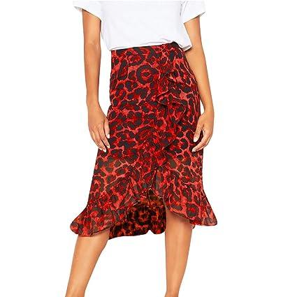Falda para mujer con estampado de leopardo, cintura alta, falda ...