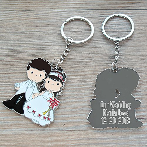 Personalized Wedding Keychain Party Favor (12 PCS) Engraved Metal Key Ring/Customized Gift for Guest]()