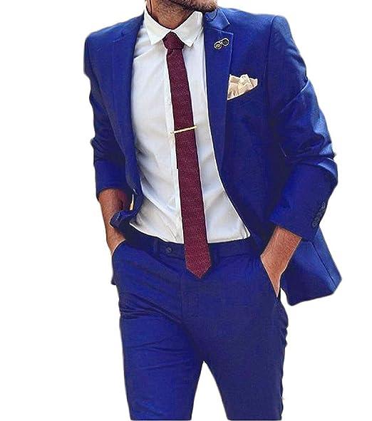 P.L.X Mens Suits Fit Slim Tux 2 Piece Formal Party Business ...