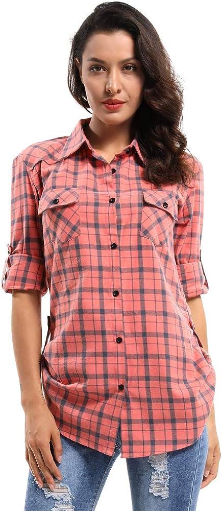 OCHENTA Camisa de Franela Para Mujer, Estilo Mediano, Manga Enrollable - - 52: Amazon.es: Ropa y accesorios