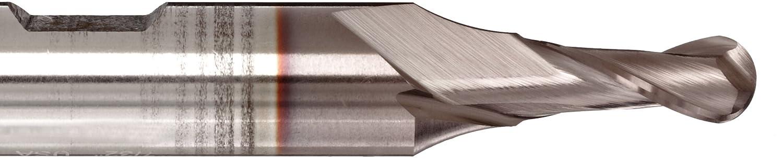 2 Flutes Weldon Shank 2.5000 Overall Length Melin Tool A-B Cobalt Steel Ball Nose End Mill 0.3125 Cutting Diameter 30 Deg Helix 0.3750 Shank Diameter TiCN Monolayer Finish