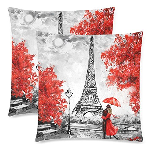 InterestPrint Oil Painting Paris Eiffel Tower Throw Pillowcase Pillow Case 18x18 Twin Sides for Couch Bed, European City France Landscape Zippered Cushion Pillow Cover Shams Decorative, Set of 2