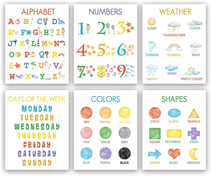 "Colorful Kid Educational Art Print, Cute Numbers, Alphabet, Weather Wall Art Poster, Set Of 6(8""X10"", Unframed), Watercolor Early Learning Canvas Painting Poster For Classroom, Nursery, Playroom Decor"
