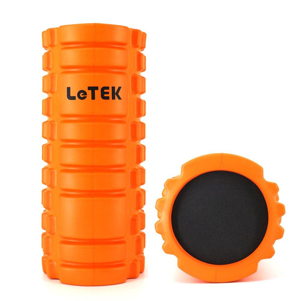 Letek Foamマッサージローラーforマッスル、深いIssue TiggerグリッドTextured Fitness Foam練習ローラーのヨガ、Myofasicalマッサージ  オレンジ B01M5JA3WE
