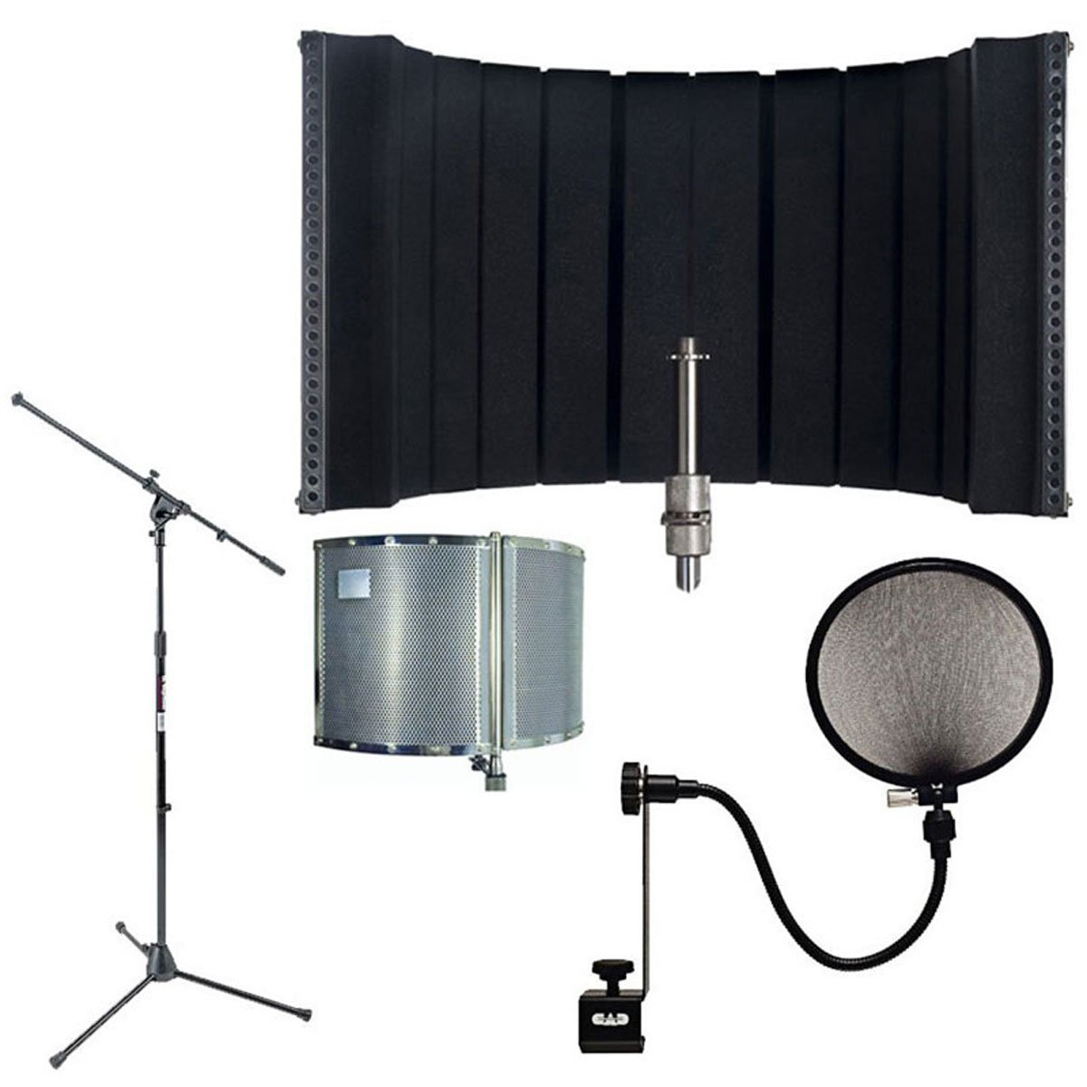 CAD AS32 Acousti-Shield 16-Guage Foldable Stand Mounted Acoustic Enclosure With Pop Filter and MSS7701B Euro Boom Microphone Stand