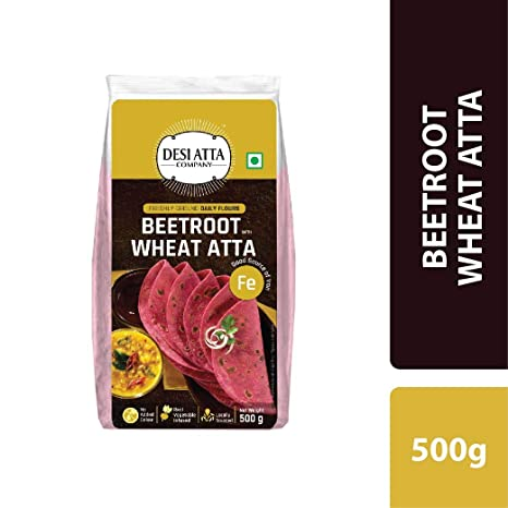 DESI ATTA CO Beetroot Wheat Atta 500 G