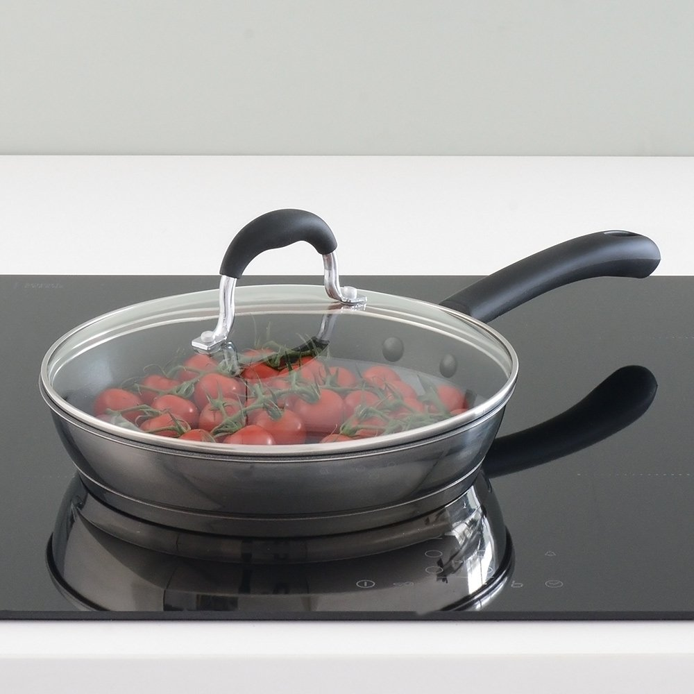 Stainless Steel Induction Pan with Toughened Glass Lid and Non-Slip Stay-Cool Handles 28cm ProCook Gourmet Steel Non-Stick Induction Frying Pan with Lid