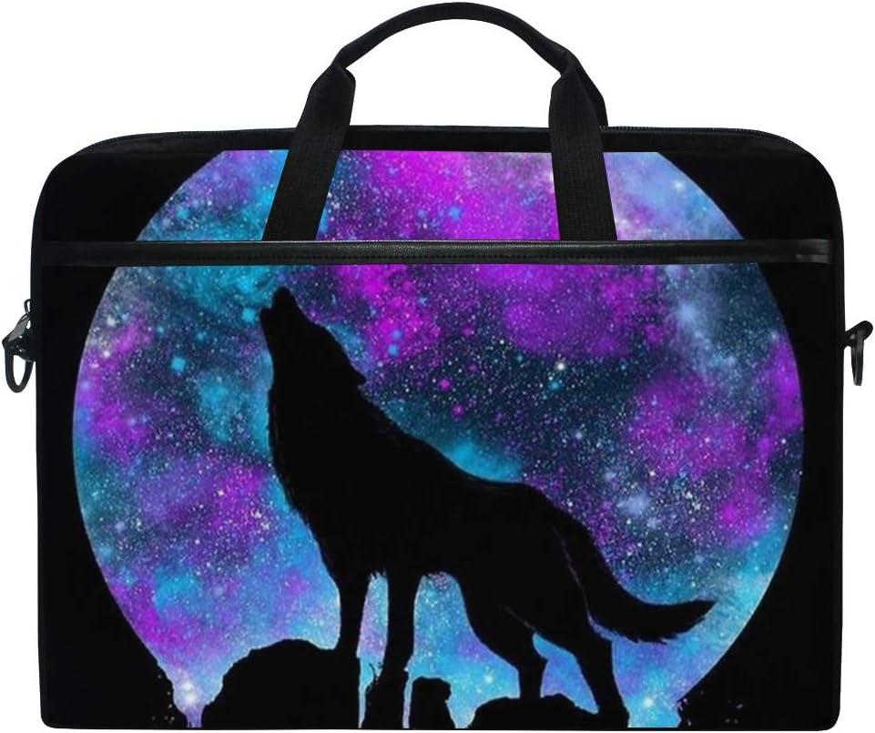 JOYPRINT Laptop Sleeve Case, Galaxy Star Moon Wolf Animal 14-14.5 inch Briefcase Messenger Notebook Computer Bag with Shoulder Strap Handle for Men Women Boy Girls