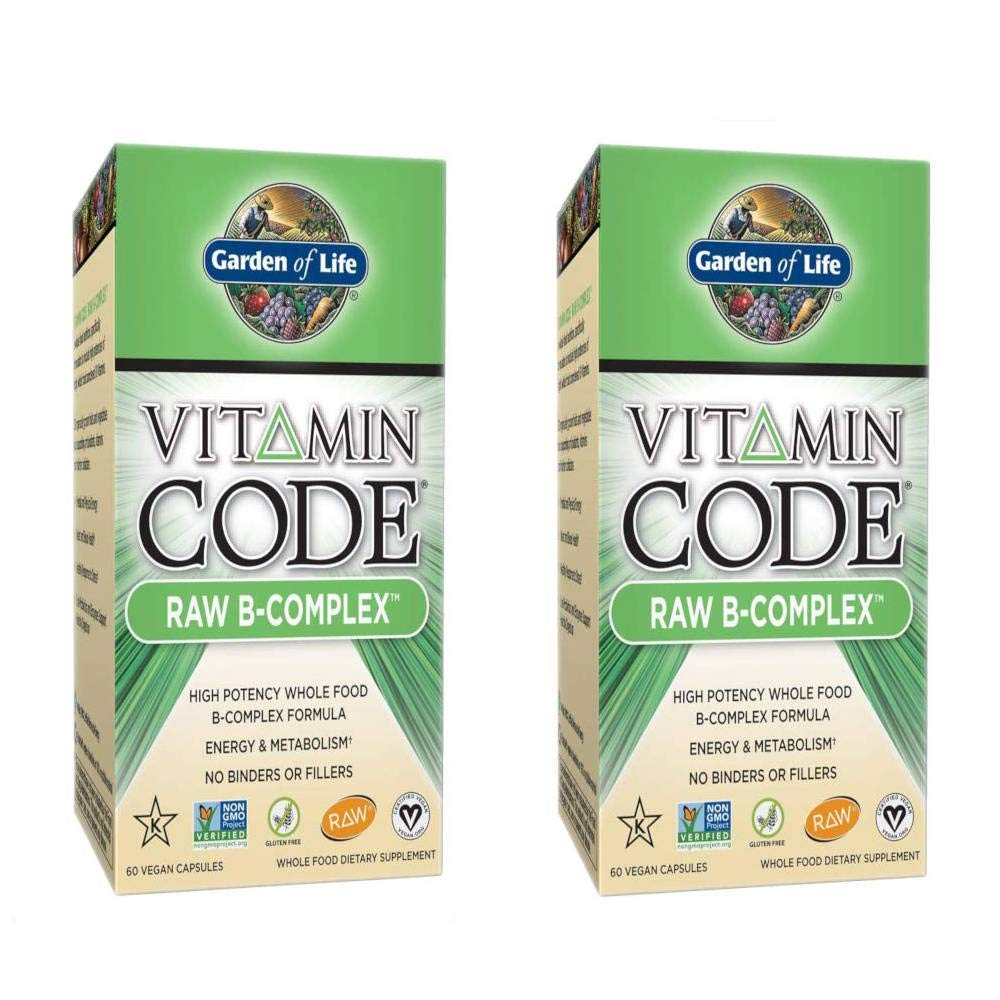 Vitamin Code Raw B-Complex High Potency Whole Food Formula Supports Energy and Metabolism Without Binders or Fillers (60 Vegan Capsules) Pack of 2