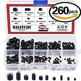 Hilitchi 260pcs M3/4/5/6/8 Allen Head Socket Hex Grub Screw Set Assortment Kit with Plastic Box 12.9 Class Black Alloy Steel