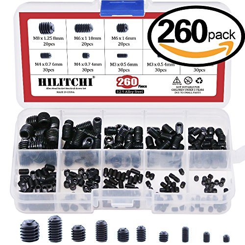 Hilitchi 260pcs M3/4/5/6/8 Allen Head Socket Hex Grub Screw Set Assortment Kit with Plastic Box 12.9 Class Black Alloy Steel