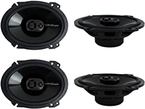 "2 Pairs of Rockford Fosgate Punch P1683 260W Peak (130W RMS) 6"" x 8"" Punch Series 3-Way Full Range Coaxial Speakers + Gravity Phone Magnet Holder"