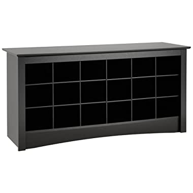Prepac BSS-4824 Shoe Storage Cubbie Bench, 24  x 48  x 16 , Black