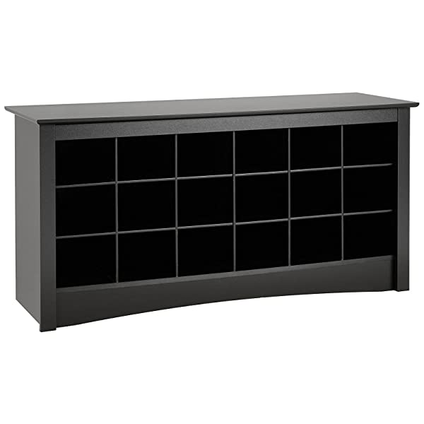 "Prepac BSS-4824 Shoe Storage Cubbie Bench, 24"" x 48"" x 16"", Black"
