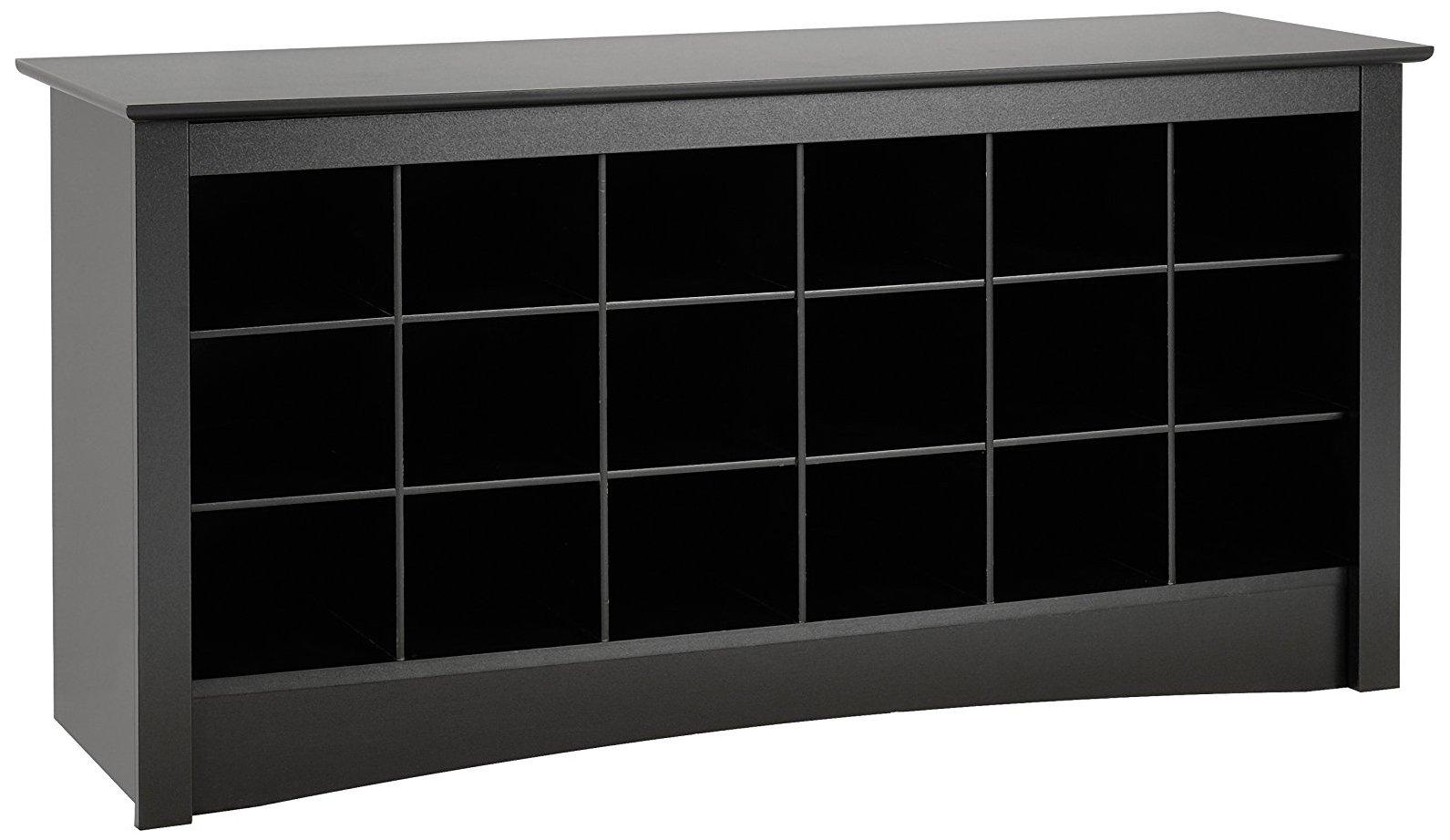 Black Shoe Storage Cubbie Bench by Prepac