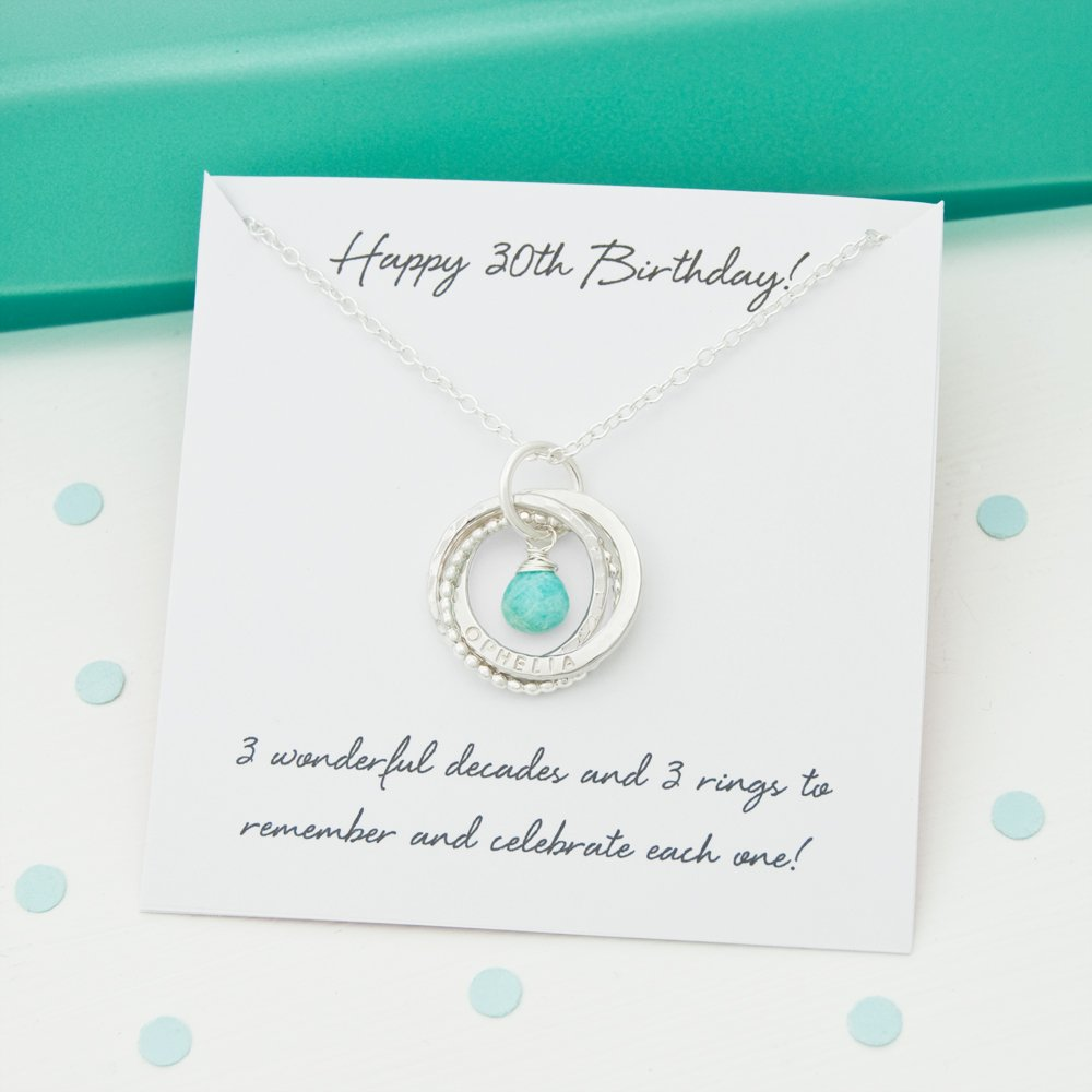Personalized 30th Birthday Birthstone Name Necklace - 30th Birthday Gift For Daughter