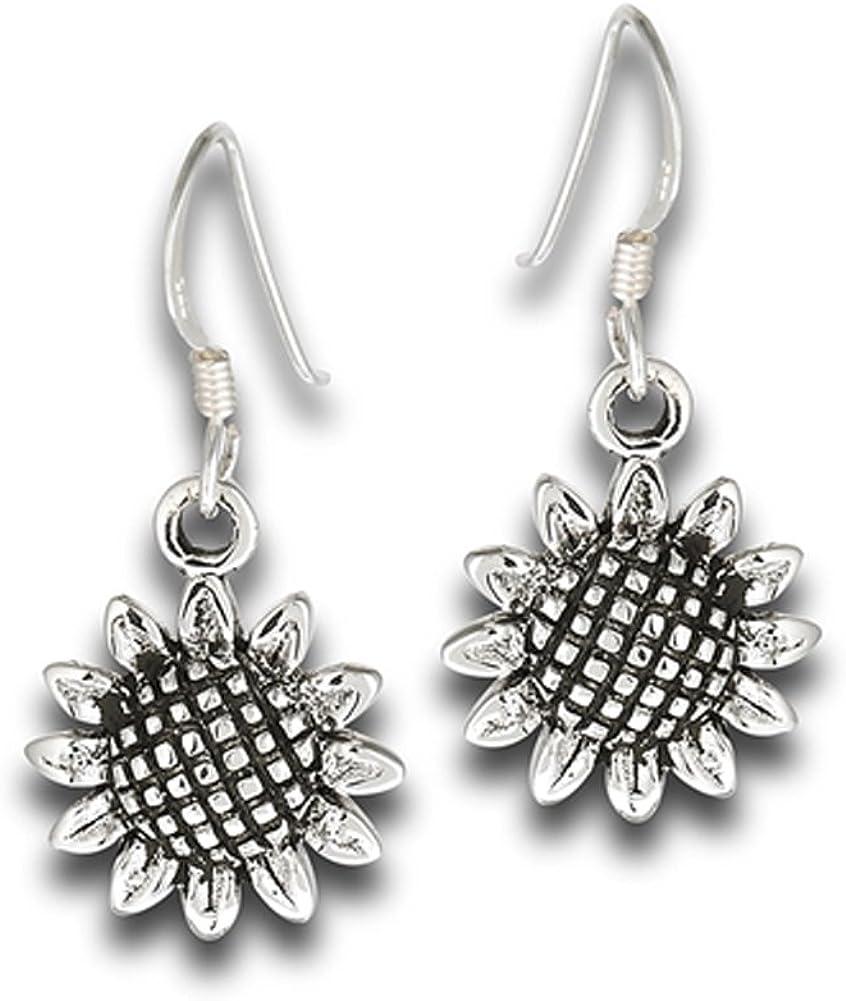 Blooming Flower Open Sunflower Nature .925 Sterling Silver Gardening Dangle Earrings