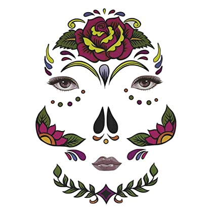 f5ed2dd40 Buy Halloween Day of Dead Temporary Face Tattoo Kit Skull Cobweb Flower  Sticker - Big Flower, as described Online at Low Prices in India - Amazon.in