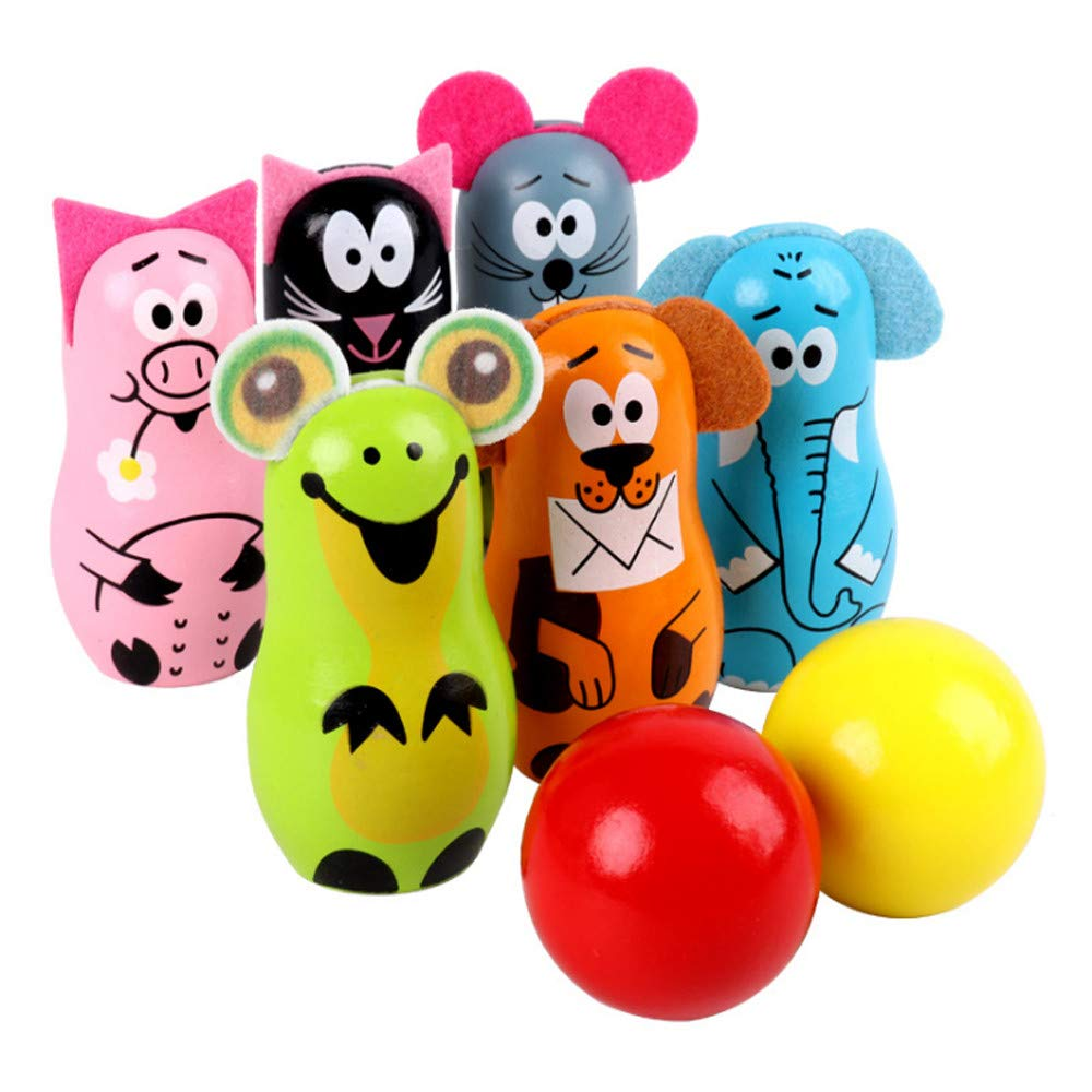 Kids Wooden Mini Animal Bowling Set - Indoor & Outdoor Cute Pretend Bowling Game Play Set, Early Development/Sport/Educational Toys for Children, Toddlers, Boys & Girls (Multiple Color) by YiwsKbo Toys
