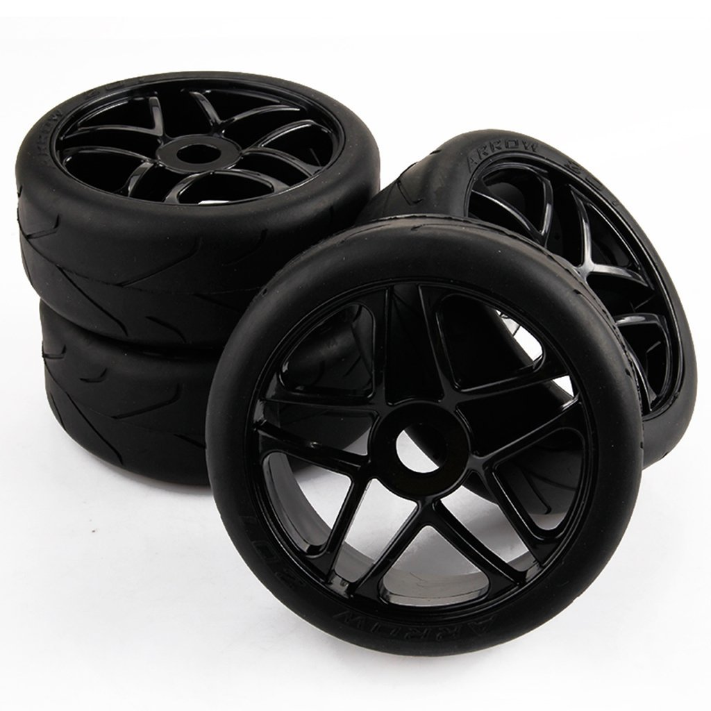 Yiguo 4pcs 1/8 RC Baja Buggy On Road Tires Tyre and Wheels Rims Car