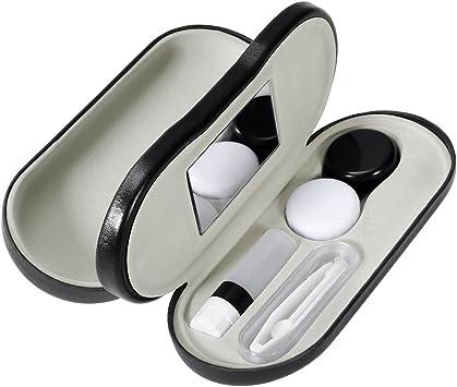 ROSENICE Estuche para Gafas y Lentillas con Espejo Incorporado 2 en 1 Funda Gafas Caja de Lentes de Contacto Kit de Viaje (Negro): Amazon.es: Salud y cuidado personal
