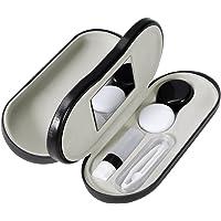 ROSENICE Estuche de lentes de contacto - 2 en 1 Estuche de vidrios portátiles de doble cara - Diseño a prueba de fugas - Incluye pinzas y aplicador - Perfecto para viajes en el hogar
