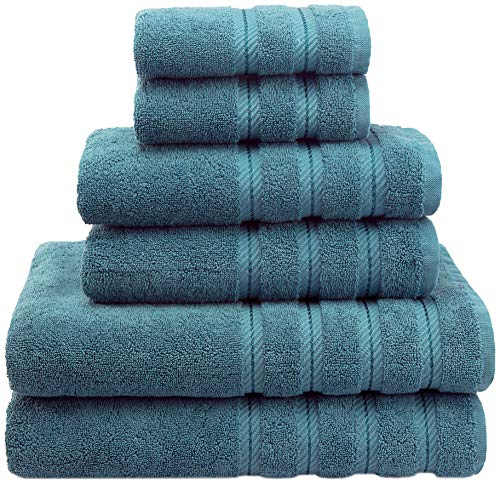Soft Absorbent Luxury Turkish Towel Set - Premium, Ringspun Cotton Hotel & Spa Quality Fluffy Plush 2 Washcloths 2 Hand & 2 Bath Towels by American Soft Linen (6-Piece Towel Set - Colonial Blue)