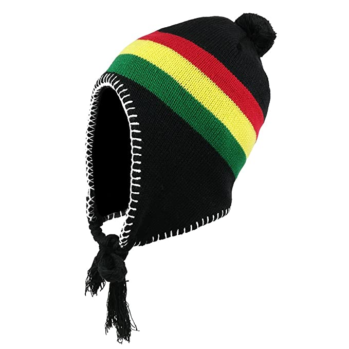 31d37579614 Amazon.com  Jamaican Ear Cover Beanie Hat with Pom Pom - BLACK  Clothing