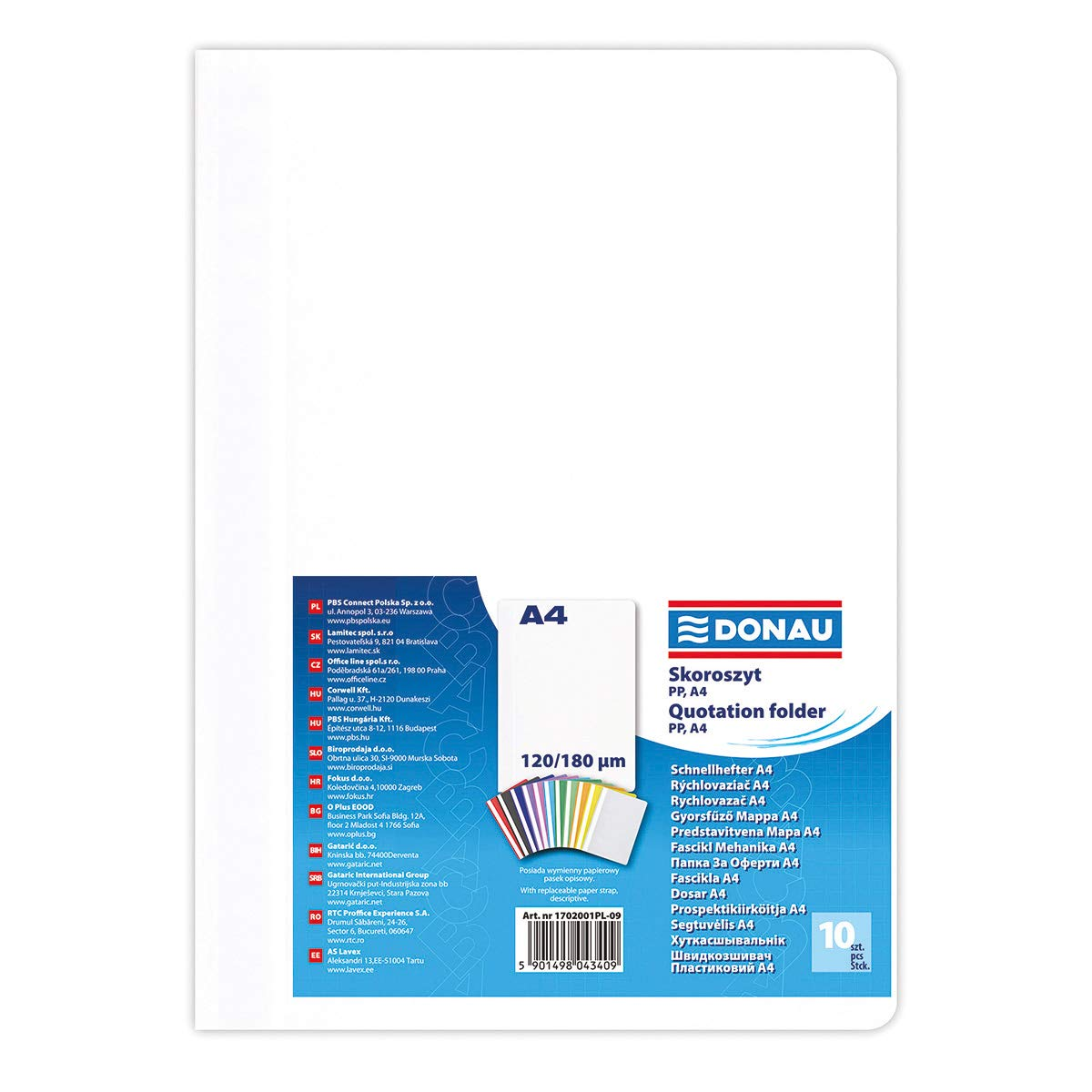 120 x 180 /μm 10 pezzi Cartellina in plastica formato A4 per ufficio e scuola con copertina trasparente bianco 200 fogli DONAU 1702001PL-09