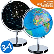 3-in-1 Illuminated World Globe - Nightlight and Constellation Globe for Kids with World Map Interactive App and Illustrated Constellation Map