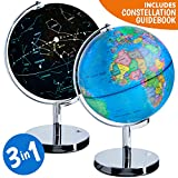 Toys : 3-in-1 Illuminated World Globe - Nightlight and Constellation Globe for Kids with World Map Interactive App and Illustrated Constellation Map