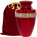 Serenity Large Red Beautiful Adult Cremation Urn for Human Ashes - w Velvet Bag