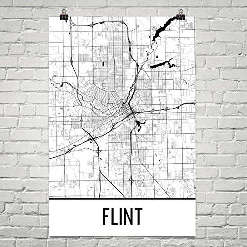 Flint Map, Flint Art, Flint Print, Flint Mi Poster, Flint Wall Art, Flint Gift,