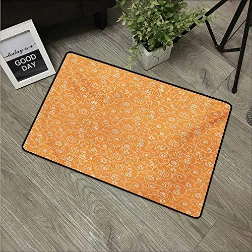Orange Cork Flooring - Harvest,Carpet Flooring Pattern with Pumpkin Leaves and Swirls on Orange Backdrop Halloween Inspired W 31