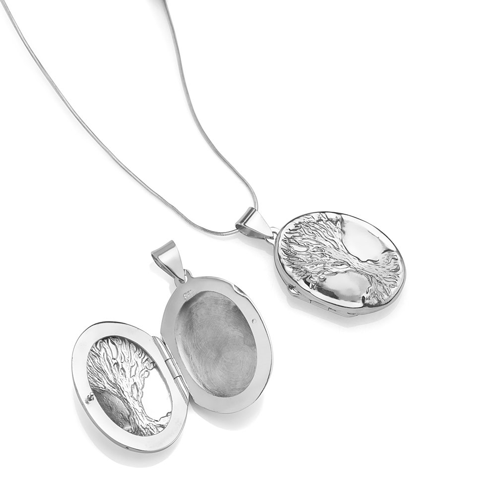 Chuvora 925 Sterling Silver Engraved Tree of Life Ancient Symbol Oval Shaped Locket Pendant Necklace, 18'' by Chuvora (Image #2)