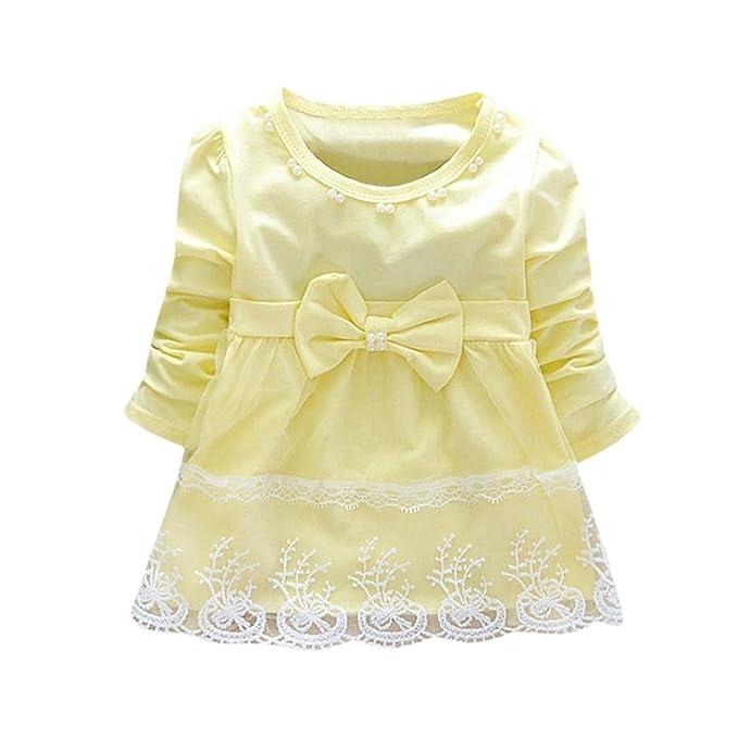 Vestido para bebé niña,Yannerr recien nacido Bowknot encaje Hilado neto tutú fiesta princesa falda